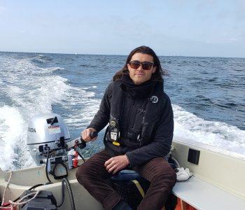 Cramer on skiff